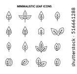 leaves thin line icon set... | Shutterstock .eps vector #516661288