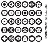 collection of flower icons ... | Shutterstock .eps vector #516663883