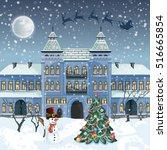 merry christmas card . santa... | Shutterstock .eps vector #516665854