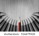 red pencil standing out from... | Shutterstock . vector #516679420