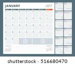 calendar template for 2017 year....   Shutterstock .eps vector #516680470