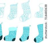 christmas blue stockings.... | Shutterstock .eps vector #516683638