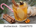 christmas composition. spruce... | Shutterstock . vector #516687070
