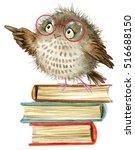 Cute Cartoon Owl. Watercolor...