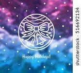 christmas bells emblem on a... | Shutterstock .eps vector #516692134