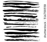 black ink vector brush strokes. ... | Shutterstock .eps vector #516700558