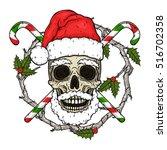 santa claus skull. cartoon... | Shutterstock .eps vector #516702358