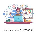 woman financial accountant | Shutterstock .eps vector #516706036