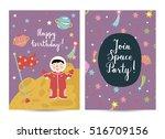 happy birthday cartoon greeting ...   Shutterstock .eps vector #516709156