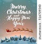 christmas  greeting card. xmas...   Shutterstock .eps vector #516709540