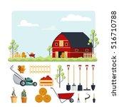 set farm tools flat vector... | Shutterstock .eps vector #516710788