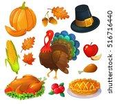 set of thanksgiving icons.... | Shutterstock .eps vector #516716440
