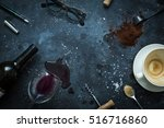 messy bar table   empty coffee... | Shutterstock . vector #516716860