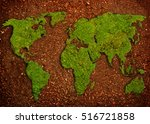 grass in shape of world map  in ... | Shutterstock . vector #516721858