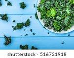 green vegetable  leaves of kale ... | Shutterstock . vector #516721918
