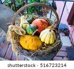 colorful pumpkins in basket ... | Shutterstock . vector #516723214