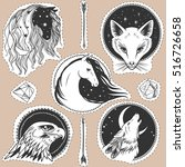 round templates with animals.... | Shutterstock .eps vector #516726658
