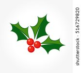 holly berry christmas plant... | Shutterstock .eps vector #516729820