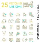set vector line icons in flat... | Shutterstock .eps vector #516733168