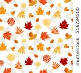 autumn leaves pattern. colorful ... | Shutterstock .eps vector #516734200
