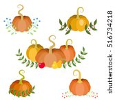 autumn decorations. small... | Shutterstock .eps vector #516734218