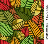 autumn striped leaves pattern.... | Shutterstock .eps vector #516734233