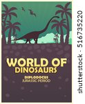 poster world of dinosaurs.... | Shutterstock .eps vector #516735220
