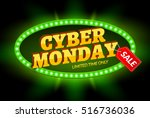 cyber monday sale retro light... | Shutterstock .eps vector #516736036