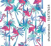 flamingo pattern   vector... | Shutterstock .eps vector #516737614