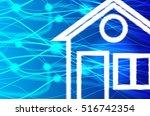 smart home. abstract blue... | Shutterstock .eps vector #516742354
