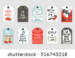 collection of 10 cute merry... | Shutterstock .eps vector #516743218