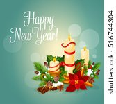 happy new year greeting card... | Shutterstock .eps vector #516744304