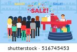 store with customers crowd and... | Shutterstock .eps vector #516745453