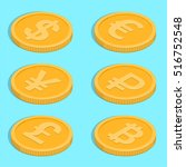 set of icons of coins. bank... | Shutterstock .eps vector #516752548