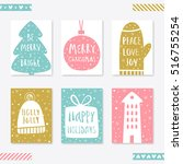collection of 6 christmas card... | Shutterstock .eps vector #516755254