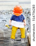 portrait of cute little builder ... | Shutterstock . vector #516756283