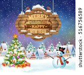 meryy christmas and happy new... | Shutterstock .eps vector #516756589