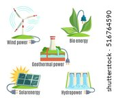 alternative energy sources set. ... | Shutterstock .eps vector #516764590