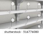 empty supermarket shelves with... | Shutterstock . vector #516776080
