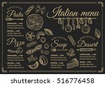 italian menu placemat food... | Shutterstock .eps vector #516776458