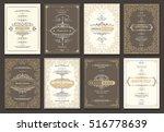 monogram creative cards... | Shutterstock .eps vector #516778639