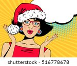 pop art wow christmas face.... | Shutterstock .eps vector #516778678