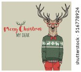 merry christmas postcard with... | Shutterstock .eps vector #516778924