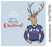 merry christmas postcard with... | Shutterstock .eps vector #516778930