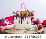 Homemade Christmas Cake On A...
