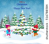 happy new year and merry... | Shutterstock .eps vector #516788584