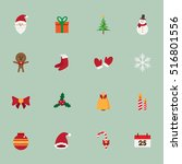 cute christmas icons set.... | Shutterstock .eps vector #516801556