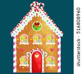 gingerbread house decorated... | Shutterstock .eps vector #516808960