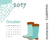 calendar october 2017. vector... | Shutterstock .eps vector #516809944