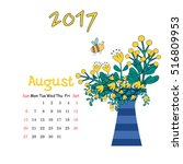 calendar august 2017. vector... | Shutterstock .eps vector #516809953